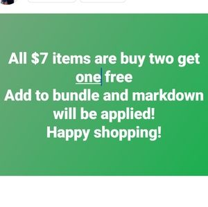 Buy 2 $7 items and get 1 $7 item for free